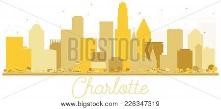 Charlotte North Carolina USA City Skyline Golden Silhouette. Simple Flat Concept for Tourism Presentation, Banner, Placard or Web Site. Charlotte Cityscape with Landmarks.