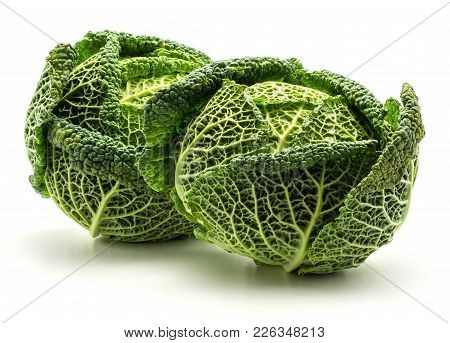 Two Savoy Cabbages Isolated On White Background Fresh Green Heads