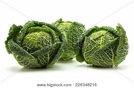 Savoy Cabbage Isolated On White Background Three Fresh Green Heads
