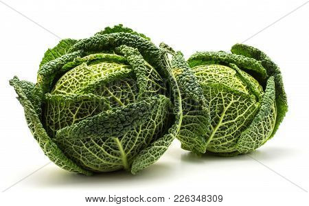 Savoy Cabbages Two Fresh Green Heads Isolated On White Background