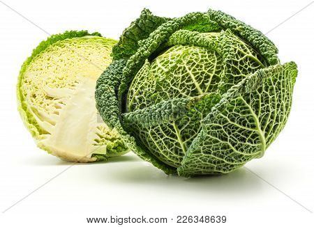 Savoy Cabbage Head And One Half Isolated On White Background Fresh Green