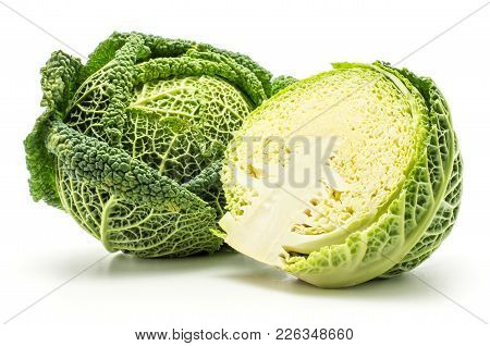 Savoy Cabbage Fresh Green Head And One Half Isolated On White Background