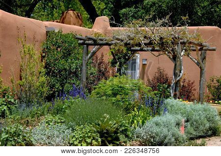 Exterior Of Adobe Building Has Courtyard Filled With Plants And Flowers.  A Pergola Gives Some Shade