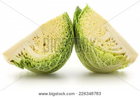 Two Savoy Cabbage Quarter Slices Isolated On White Background Fresh Cut Green