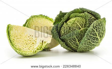 Savoy Cabbage Set Isolated On White Background One Green Head Fresh Cut Half And A Quarter Slice
