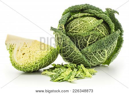 Savoy Cabbage Head And Sliced Quarter With Chopped Leaves Stack Isolated On White Background Fresh G