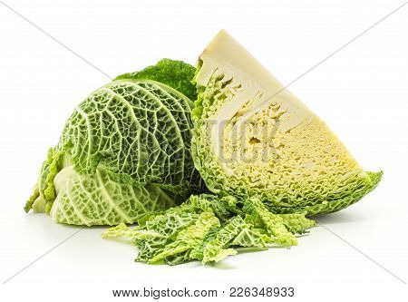 Savoy Cabbage Two Quarters With Chopped Leaves Stack Isolated On White Background Fresh Green