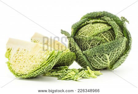 Savoy Cabbage One Head Two Quarters With Chopped Leaves Stack Isolated On White Background Fresh Gre