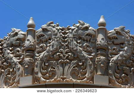 Lensic Theater In Downtown Santa Fe, New Mexico Has Intricate Designs On The Roofline Of The Theater