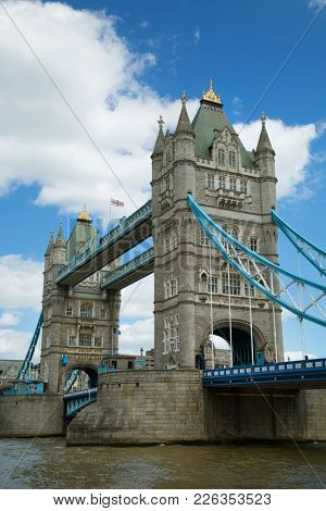 Tower Bridge is a combined bascule and suspension bridge in London