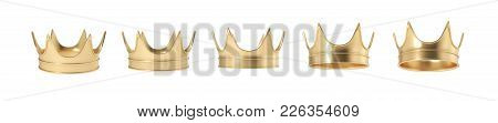 3d Rendering Of Set Of Golden Royal Crown Isolated On A White Background. Monarchy Symbol. Royal Tre