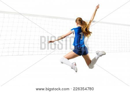 Young woman volleyball player isolated (with  net version)