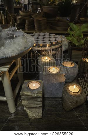 Aroma Candles Decorated In The Shop, Stock Photo