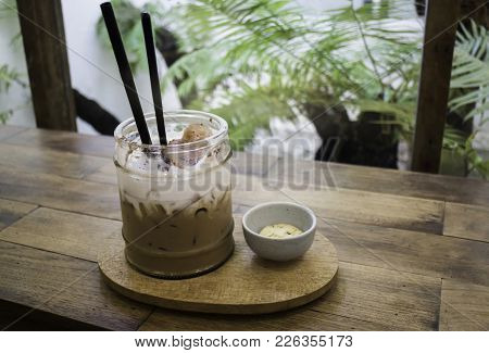 Delicious Iced Coffee With Cookie, Stock Photo