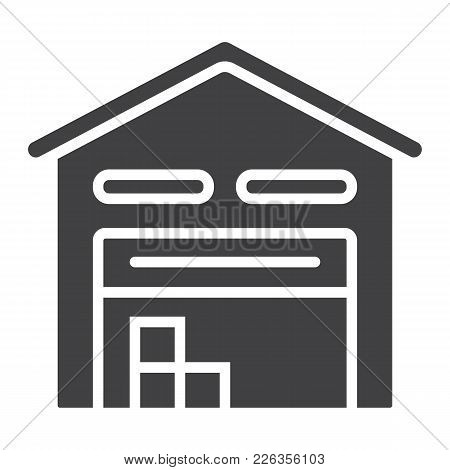Warehouse Glyph Icon, Logistic And Delivery, Storage Sign Vector Graphics, A Solid Pattern On A Whit