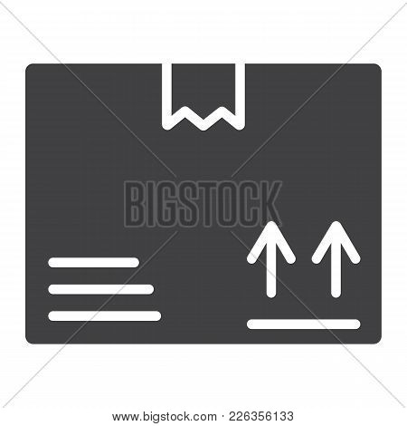 Carton Box Glyph Icon, Logistic And Delivery, Cardboard Box Sign Vector Graphics, A Solid Pattern On