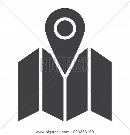 Pinpoint On Map Glyph Icon, Geolocation And Navigation, Gps Sign Vector Graphics, A Solid Pattern On