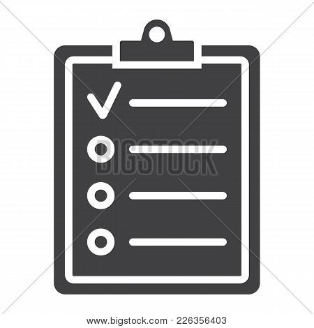 Checklist Glyph Icon, Clipboard And Note, Checkmark Sign Vector Graphics, A Solid Pattern On A White