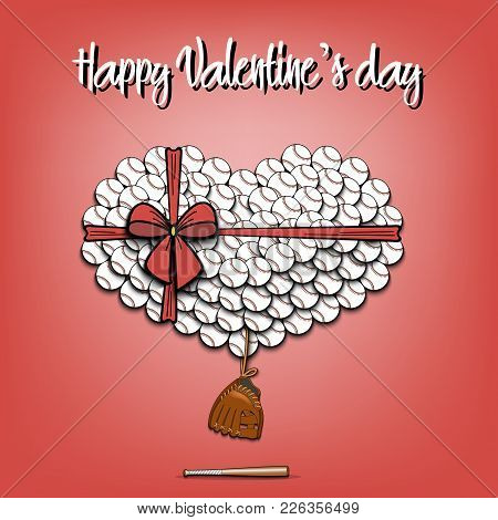 Happy Valentines Day. Baseball Balls Laid Out In The Shape Of The Heart And Decorated With A Bow. Ba
