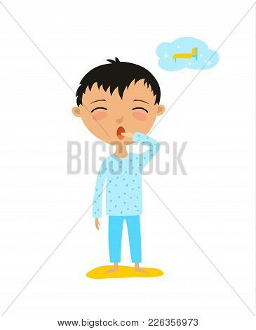 Vector Illustration Of A Child Who Wants To Sleep. The Boy Yawns.