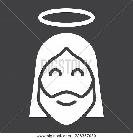 Jesus Glyph Icon, Easter And Holiday, Christ Sign Vector Graphics, A Solid Pattern On A Black Backgr