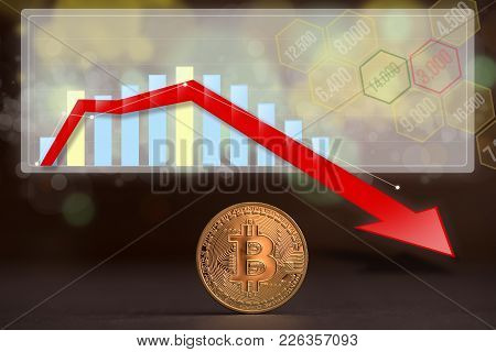 Bitcoin Coin With A Decreasing Trend Graph