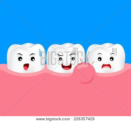 Cute Cartoon Tooth Character With Gum Problem. Dental Care Concept, Swollen Gums Or Periodontal Dise