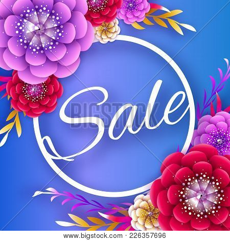 Origami Spring Sale Flowers Banner. Paper Cut Floral Card. Spring Blossom. Happy Womens Day. 8 March