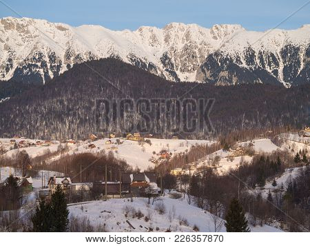 Winter Rural Scene In The Mountains. Carpathians Mountains, Romania. Countryside Landscape In Transy