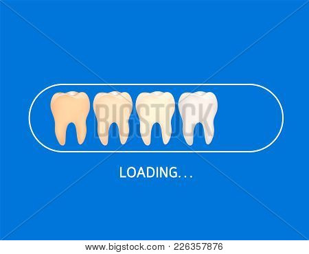 Whitening Teeth Loading Icon. Dental Care Concept. Vector Illustration Isolated On Blue Blackground.