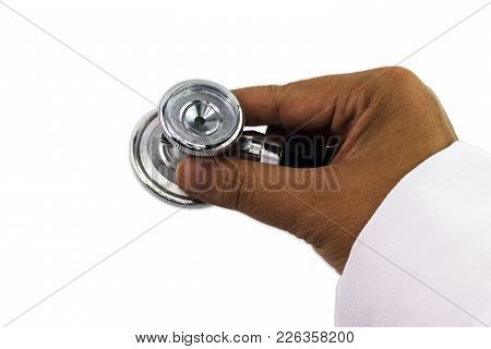 Metal Silver Stethoscope With Black Tube In Doctor Hand