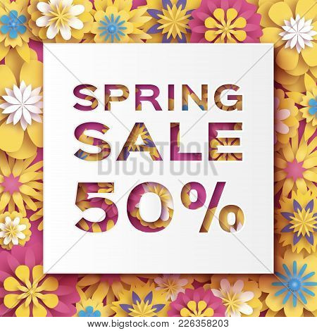 Origami Yellow Spring Sale Flowers Banner. Paper Cut Floral Card. Spring Blossom. Happy Womens Day.