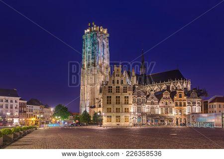 Mechelen, Belgium - May 02, 2017: Grote Markt in Mechelen at sunset.