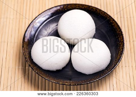 Three Steamed Yam Cakes Filled With Red Bean Paste Colled Karukan Manju That Confection From Kagoshi
