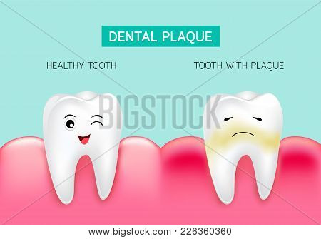 Dental Plaque With Inflammation And Healthy Tooth. Cute Cartoon Design, Illustration Isolated On Gre