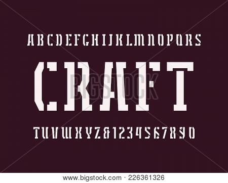Narrow Stencil-plate Serif Font In Military Style. Letters And Numbers For Logo And Headline Design.