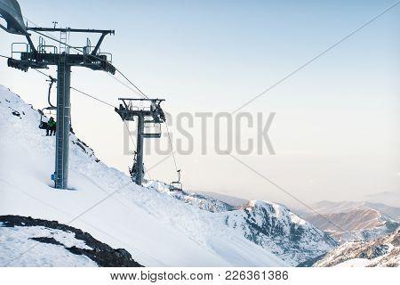 Funicular In The Mountains. Ski Resort Shymbulak, Kazakhstan Almaty Gondolas