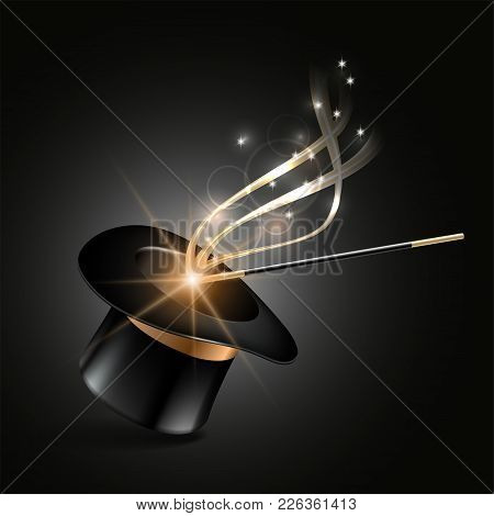 Magic Hat And Wand With Magical Gold Sparkle Trail On Dark Background. Vector Illustration
