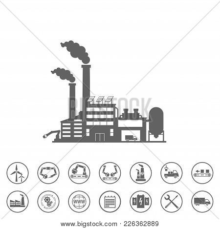 Smart Factory And Icons Set. Smart Factory Or Industrial Internet Of Things. Vector Illustration