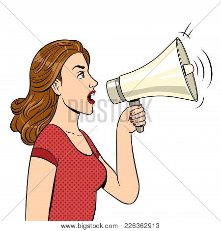 Woman With Megaphone Pop Art Style Vector Illustration. Human Illustration. Isolated Image On White