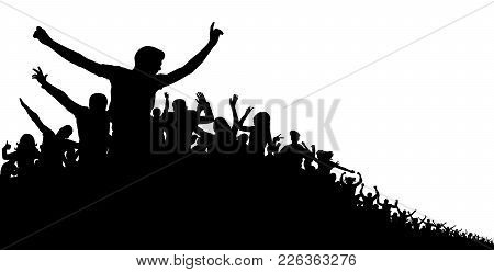 Crowd Of People, Vector Silhouette Background. Concert, Party, Sport, Sports Fans, Cheerful Applause
