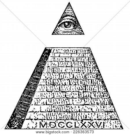 Illuminati Symbols Bill, Masonic Sign, All Seeing Eye Vector. One Dollar, Pyramid. New World Order