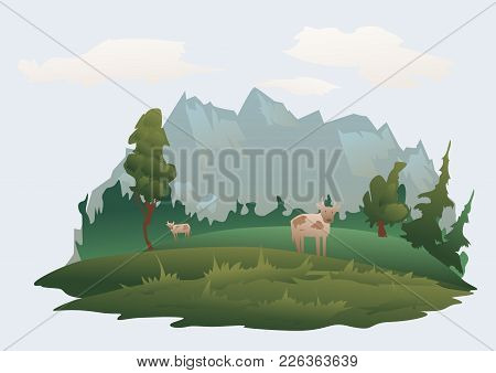 Mountain Landscape. Green Meadow, Forest And Mountain Peaks In The Distance. Isolated Vector Illustr