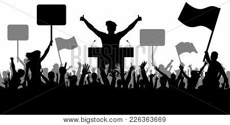 Oratory Art, Politics. Crowd Of People Demonstrating Silhouette. Demonstration Isolated On White Bac