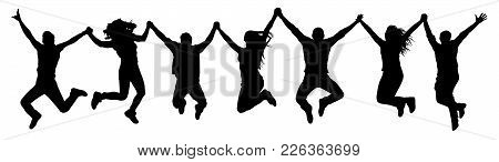 People Holding Hands In A Jump Silhouette. Funny Friends Jump Background