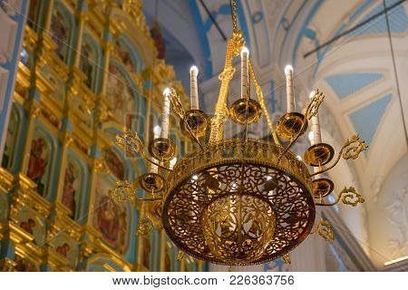Istra, Russia - January 3, 2017: The Altar And The Iconostasis Of The Voskresensky New-jerusalem Sta