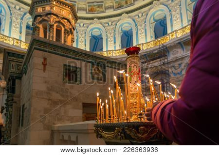 Istra, Russia - January 3, 2017: Chapel Of The Holy Sepulchre In The Voskresensky New-jerusalem Stav