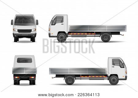 White Realistic Delivery Cargo Truck Isolated On White. City Commercial Lorry Mockup From Side, Fron