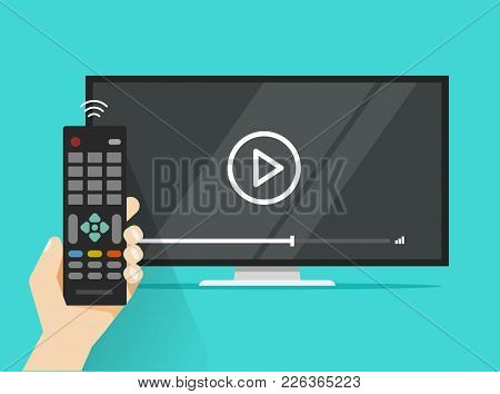 Remote Control In Hand Near Flat Screen Tv Watching Video Film, Cartoon Person Watching Movie Or Fil