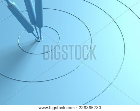 Darts Hitting In The Target Center With Copy Space For Your Text, Minimal Concept, 3d Render.